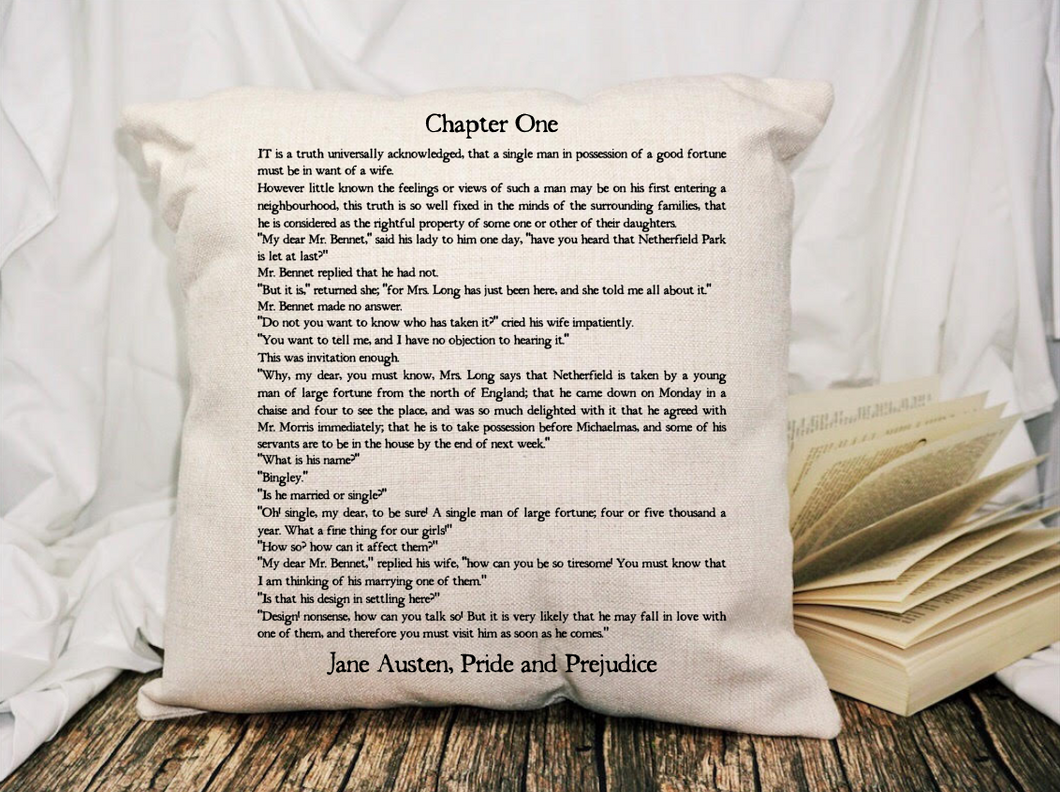 Pride and Prejudice Page Pillow