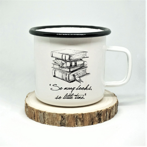 So Many Books Enamel Mug