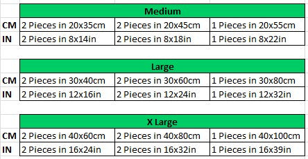 canvas painting size chart