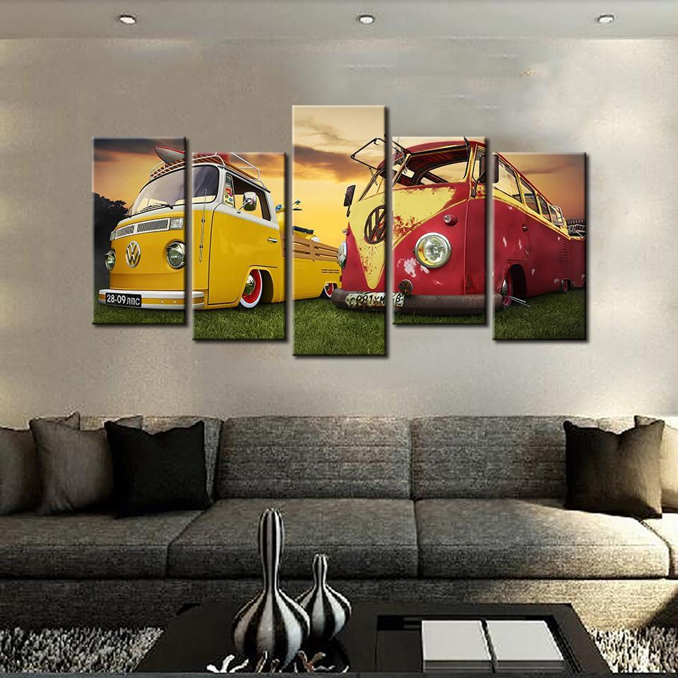 5 Pieces Vintage Volkswagen Bus At Sunset Canvas
