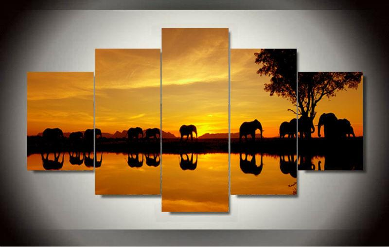 5 Piece Africa Elephant Picture Canvas Wall Art Paintings For Sale ...