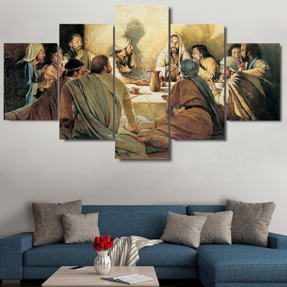 5 Piece Jesus Disciples Last Supper Canvas Wall Art Paintings For