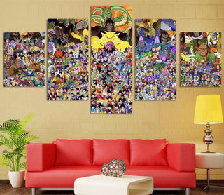 Framed 5 Piece Cartoon Anime Dragon Ball 14 Canvas Wall Art Paintings - It Make Your Day