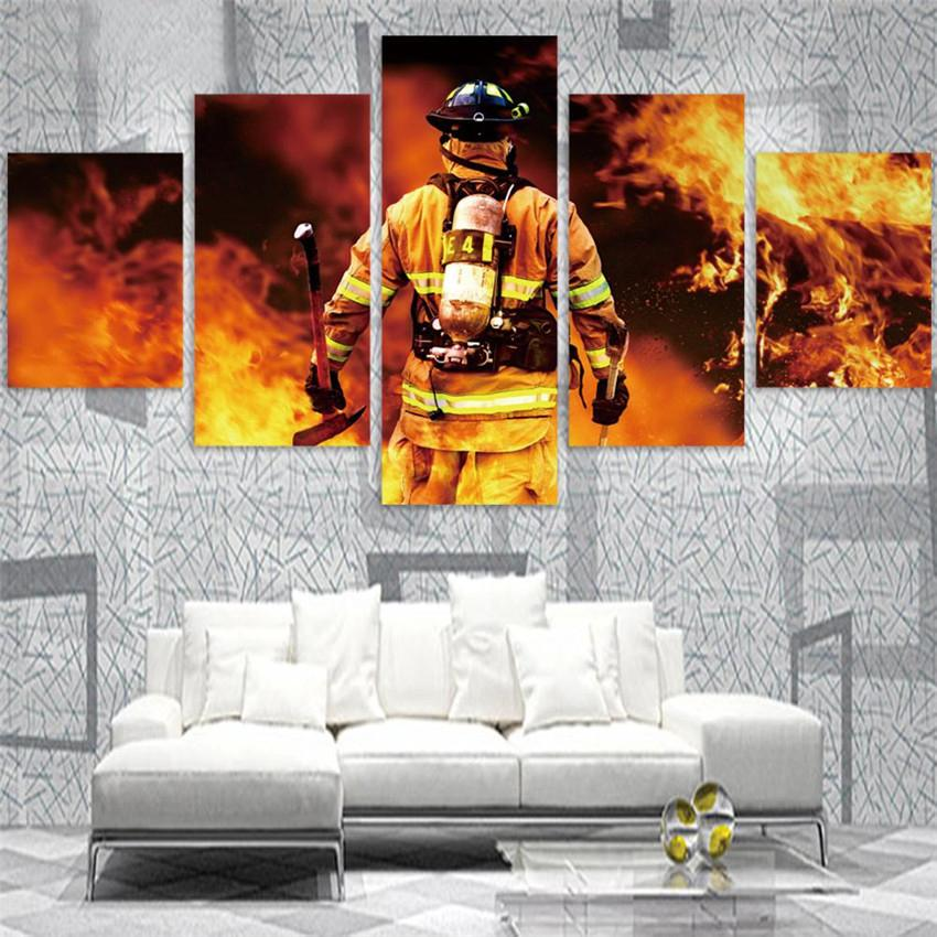 5 Piece Firefighter Put Out The Fire Canvas Wall Art Paintings - It Make Your Day