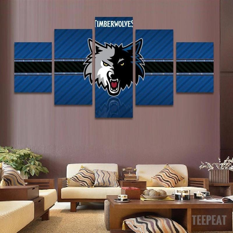 5 Piece Minnesota Timberwolves Canvas Painting Frames - It Make Your Day