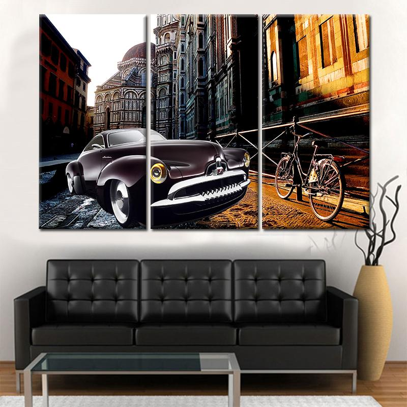 3 Piece Old buildings and Car Canvas Wall Art Sets - It Make Your Day