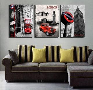 3 Piece London Big Ben Red Car Bus City Canvas - It Make Your Day