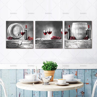 3 Piece Red Grape Wine Barrel Bottle Goblet Canvas Wall Art Sets - It Make Your Day