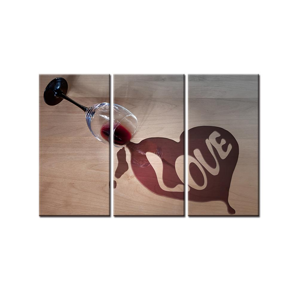 3 Piece Life Wine Glass Love Canvas Wall Art Paintings - It Make Your Day