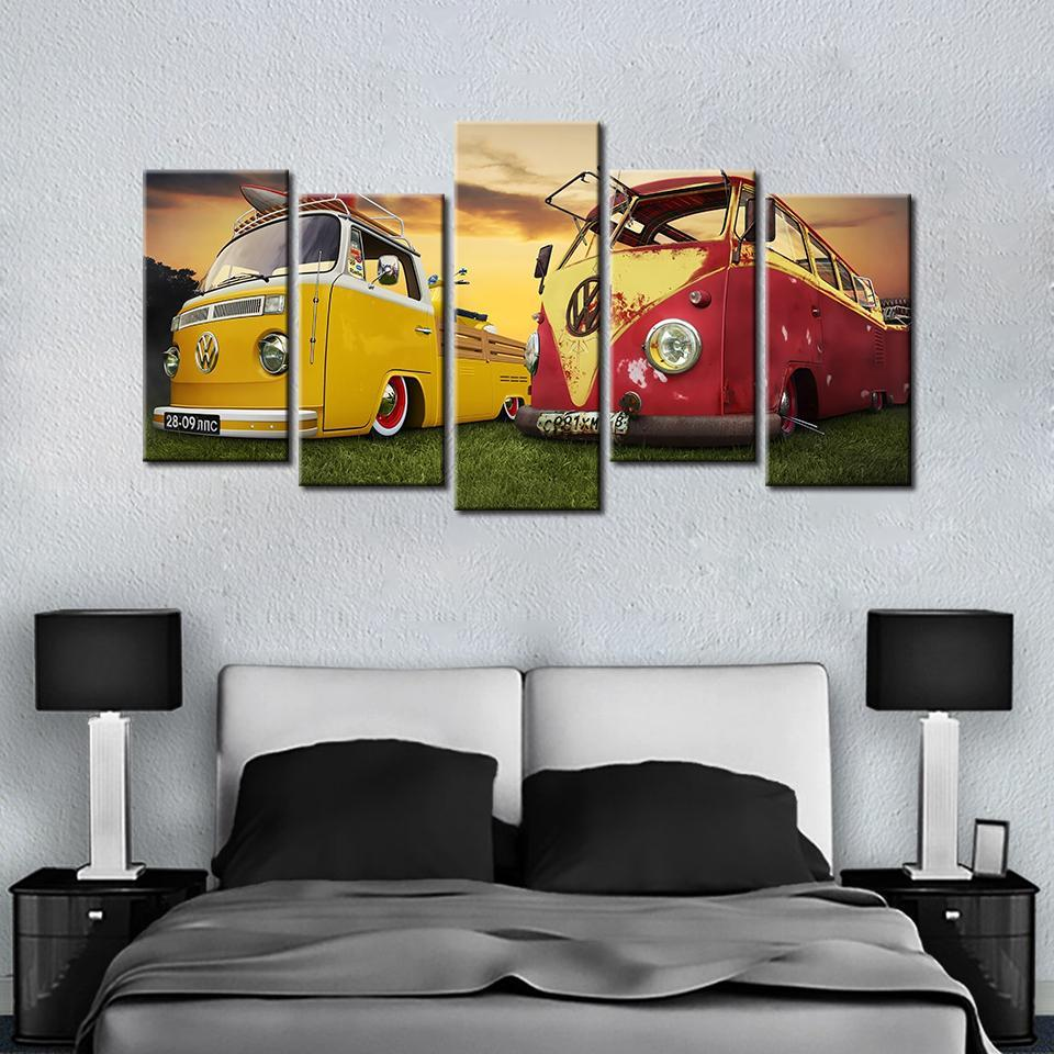 5 Pieces Vintage Volkswagen Bus At Sunset Canvas - It Make Your Day