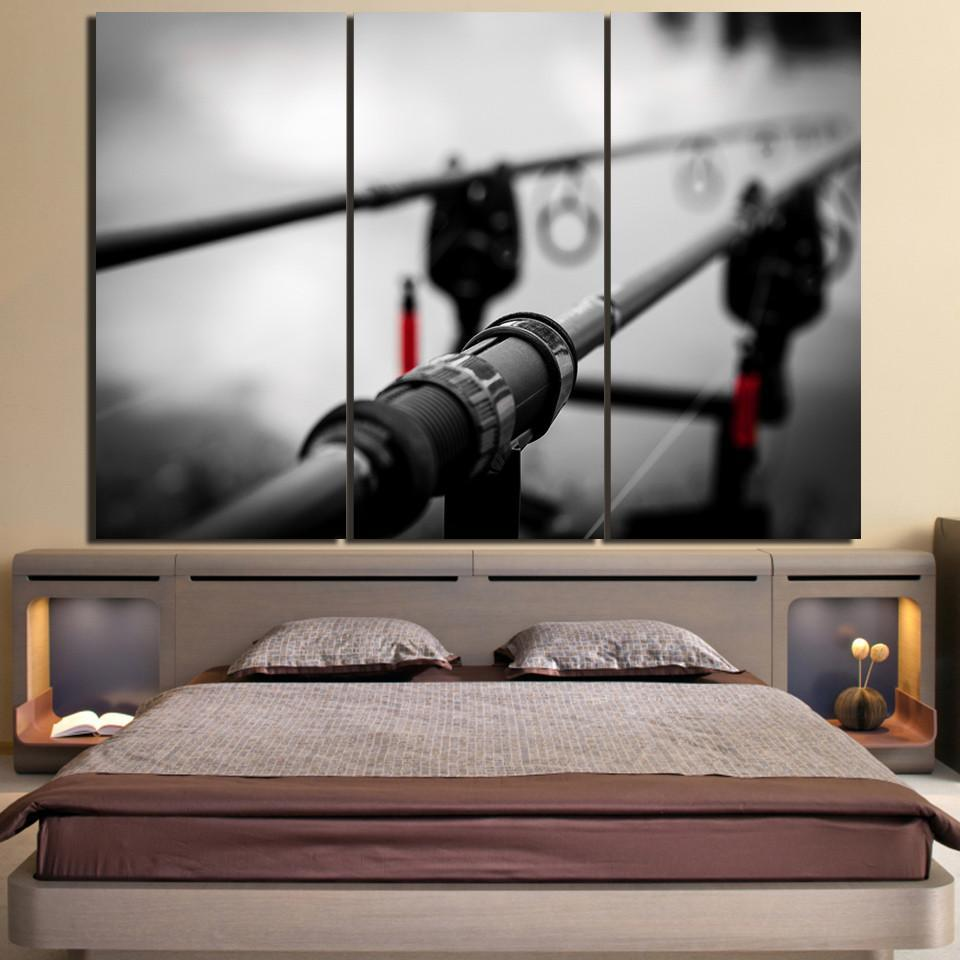 3 Piece Black Fishing Rod Canvas Wall Art Sets - It Make Your Day