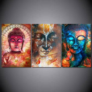 3 Piece Colorful Buddha Canvas Painting Wall Art - It Make Your Day