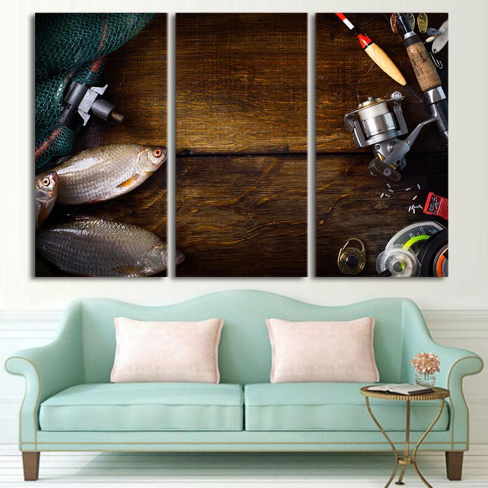 3 Piece Fishing Rod In Wooden Board Canvas Wall Art Sets - It Make Your Day