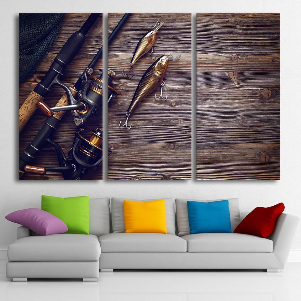 3 Piece Fishing Rod Tuna Framed Wooden Board Canvas Wall Art Sets - It Make Your Day