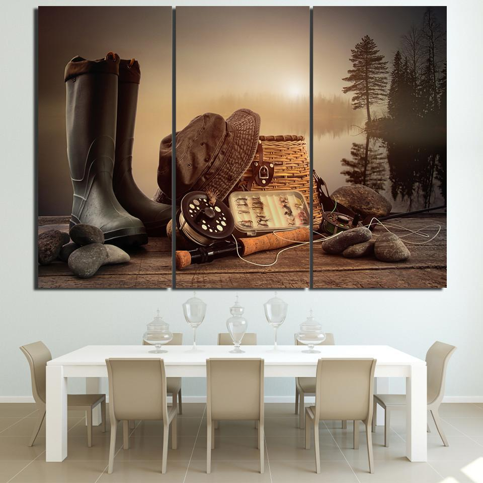 3 Piece Fishing Tools with Boots and Basket Canvas Wall Art Sets - It Make Your Day