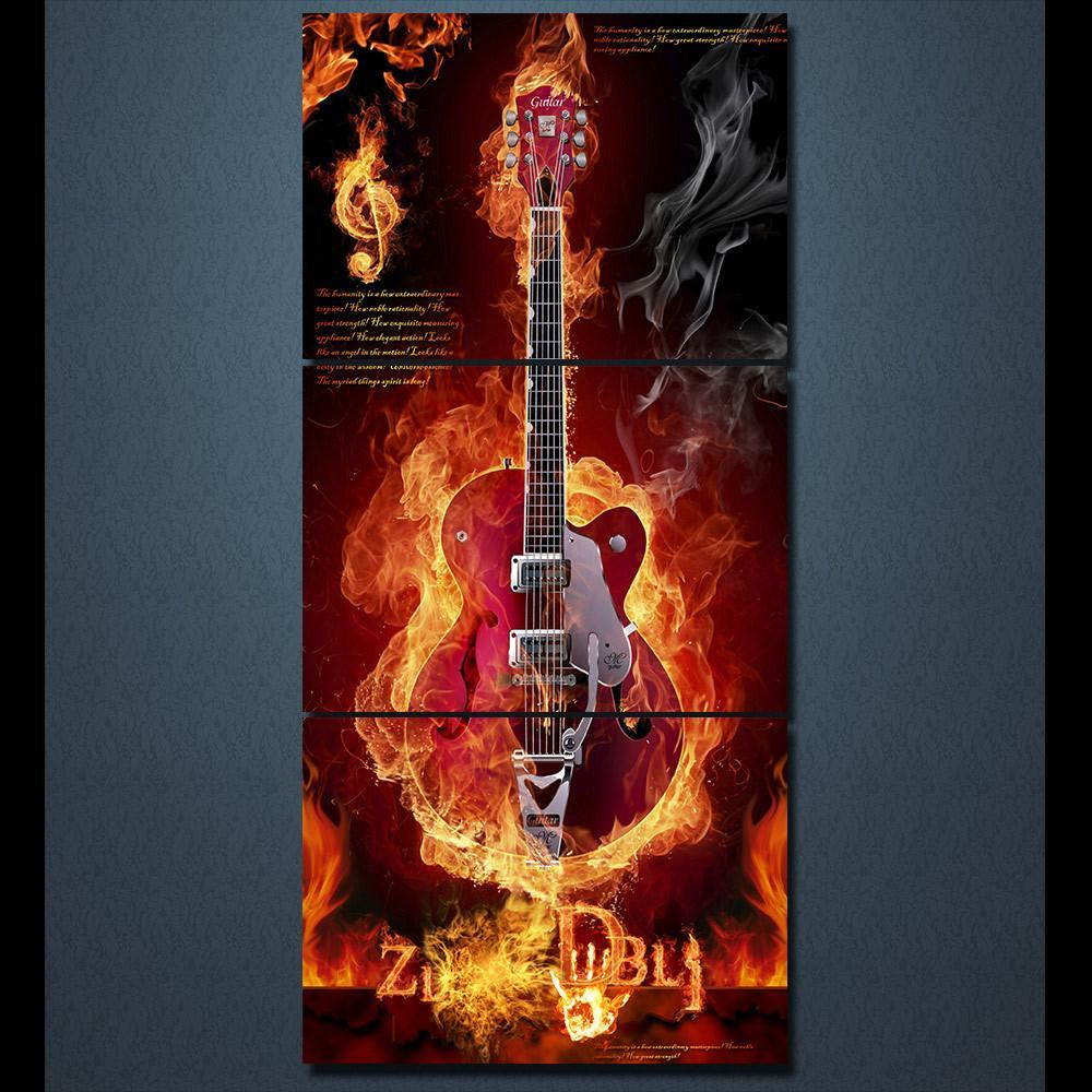 3 Piece Flaming Guitar Canvas Wall Art Sets - It Make Your Day