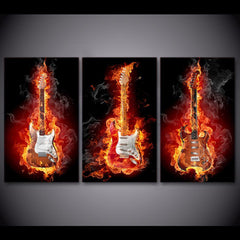 3 Piece Lit Guitar Canvas Wall Art Sets - It Make Your Day