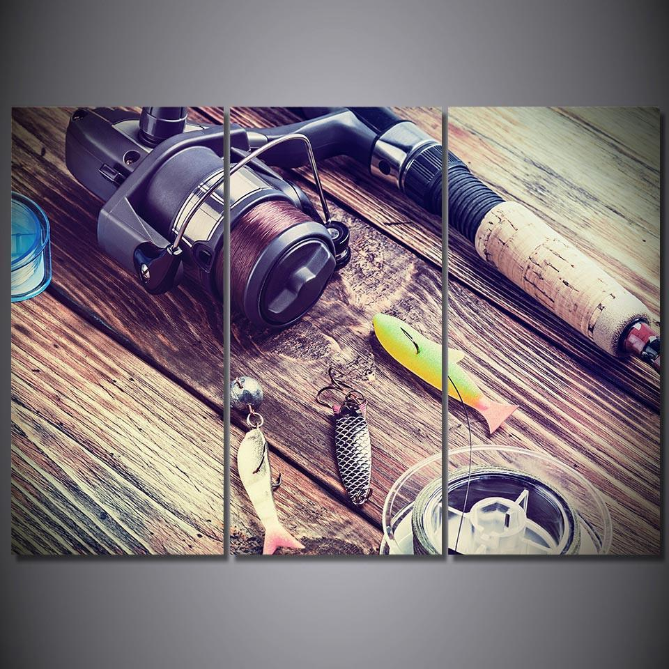 3 Piece Pulley Fishing Rod and Hook Canvas Wall Art Sets - It Make Your Day