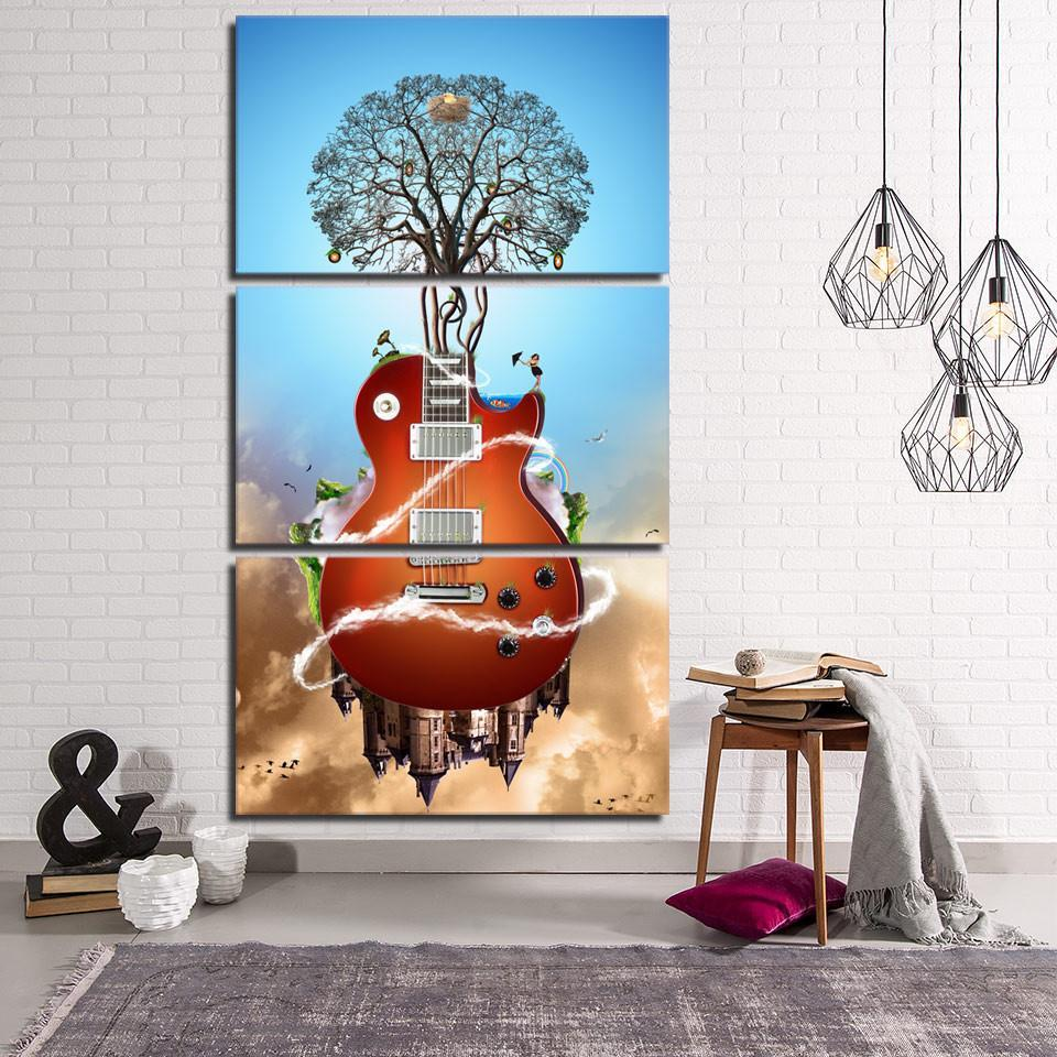 3 Piece Tree Guitar Canvas Wall Art Sets - It Make Your Day