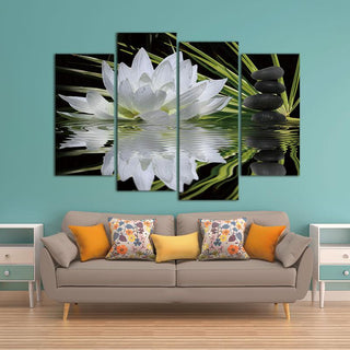 4 Piece Flower White Lotus In Black Canvas Wall Art Paintings - It Make Your Day
