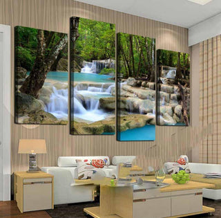 4 Panel Waterfall Green Lake Canvas Painting Wall Art - It Make Your Day