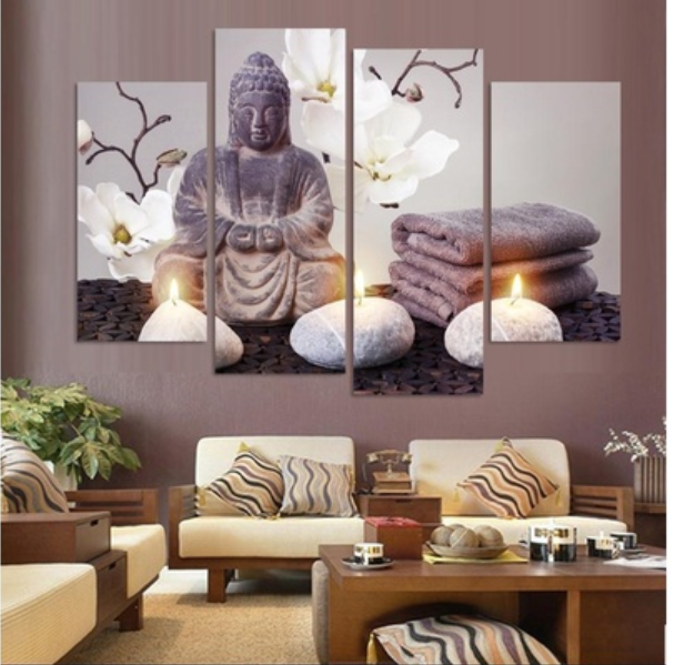 4 Piece Buddha Canvas Paintings Wall Art - It Make Your Day