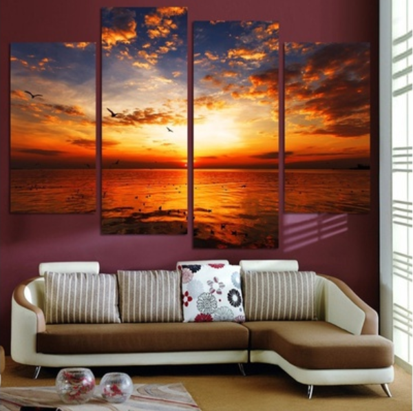 4 Piece Sea Sunset Canvas Paintings Wall Art - It Make Your Day