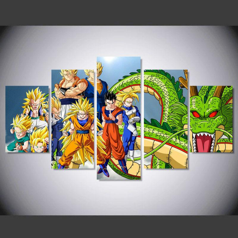 Framed 5 Piece Cartoon Anime Dragon Ball 18 Canvas Wall Art Paintings - It Make Your Day