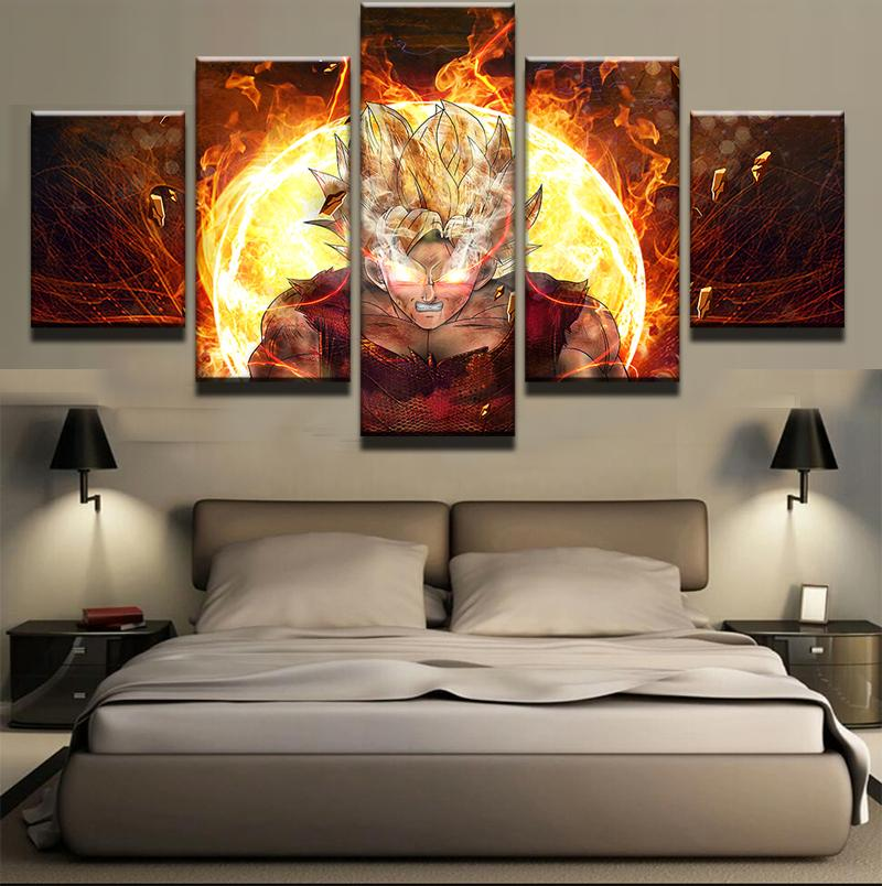 Framed 5 Piece Cartoon Anime Dragon Ball 12 Canvas Wall Art Painting - It Make Your Day