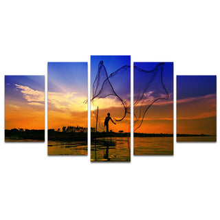 5 Piece Sea View Fishing Sunset Canvas Wall Art Sets - It Make Your Day