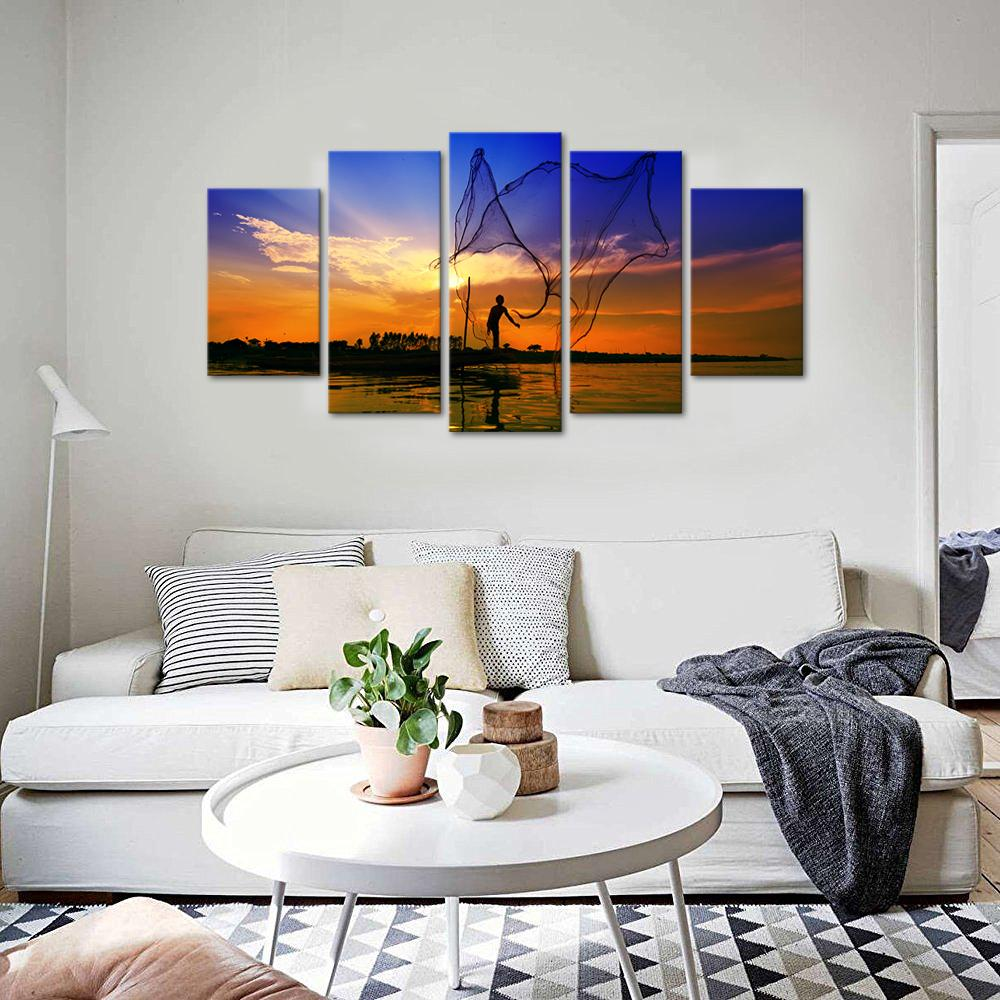 5 Piece Sea View Fishing Sunset Canvas Wall Art Sets – It Make Your Day