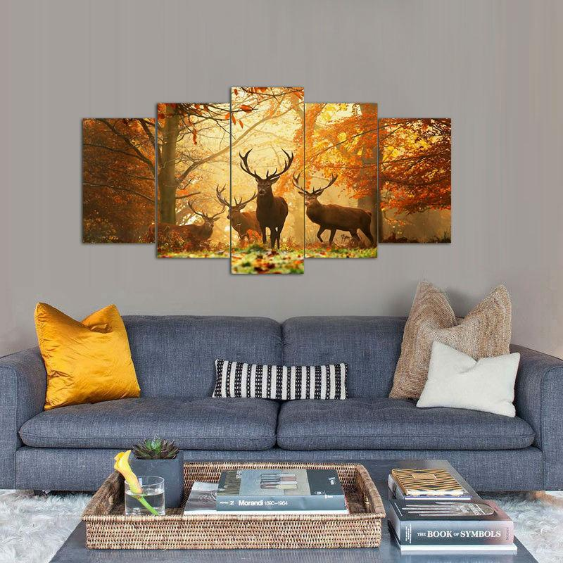 5 Pieces Deer Forest Canvas Wall Art - It Make Your Day