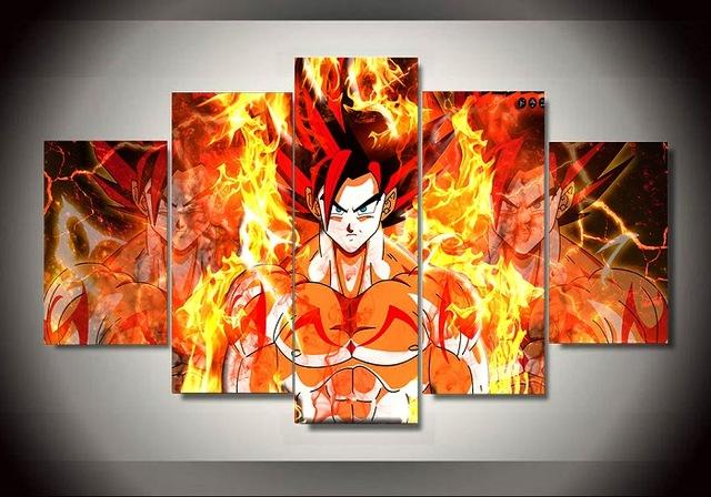 Framed 5 Piece Animated Cartoon Dragon Ball Canvas Wall Art Paintings - It Make Your Day