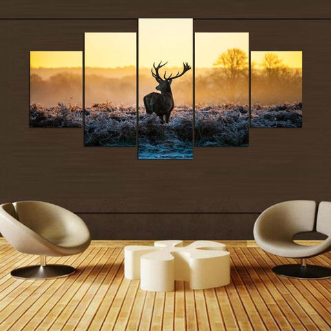 5 pieces deer canvas prints wall art paintings sets