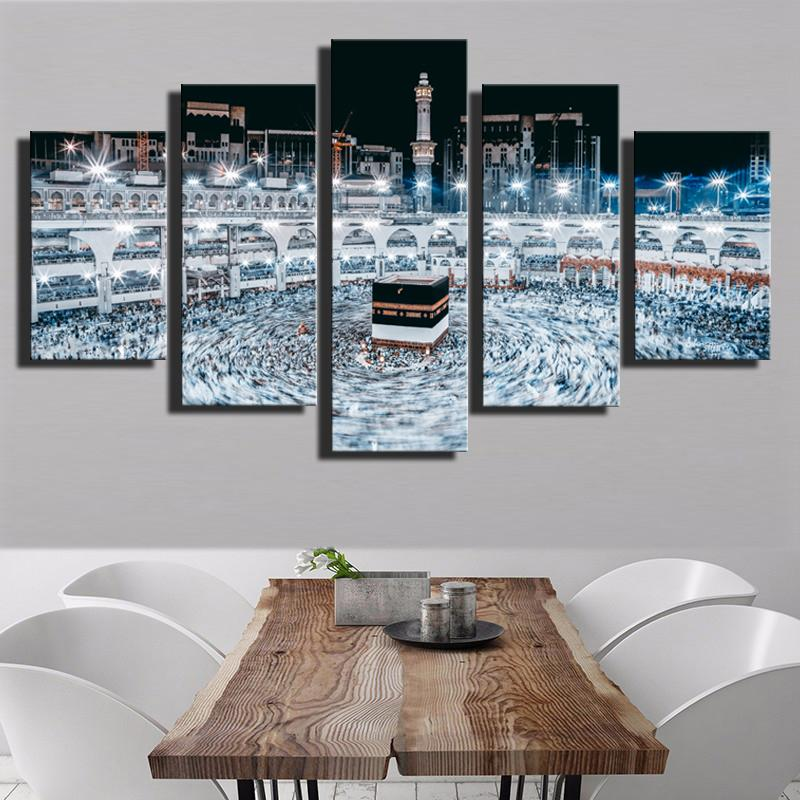 5 Piece Religious Architecture Islamic Canvas Wall Art Paintings ...