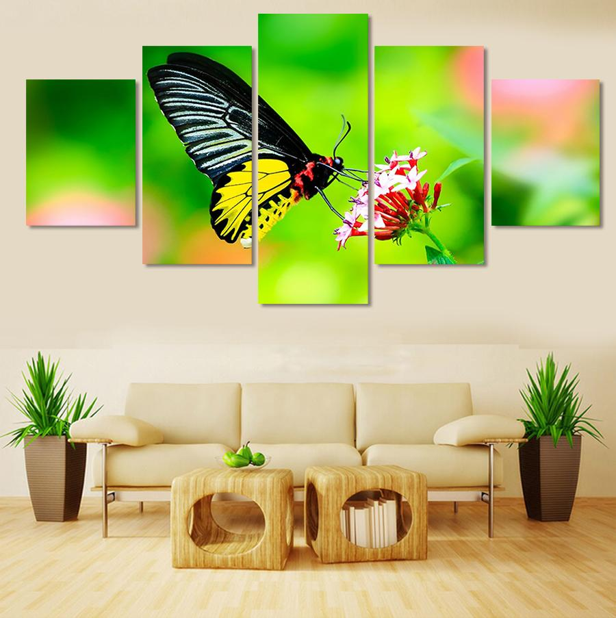 Framed 5 Piece The Butterfly Canvas Wall Art Sets - It Make Your Day