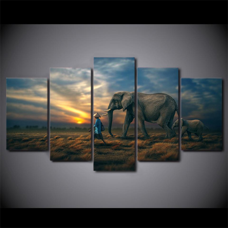 5 Piece Elephants Sunset Canvas Wall Art Paintings - It Make Your Day