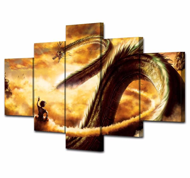 5 Piece Cartoon Dragon Ball Canvas Wall Art Paintings Sets For Sale ...