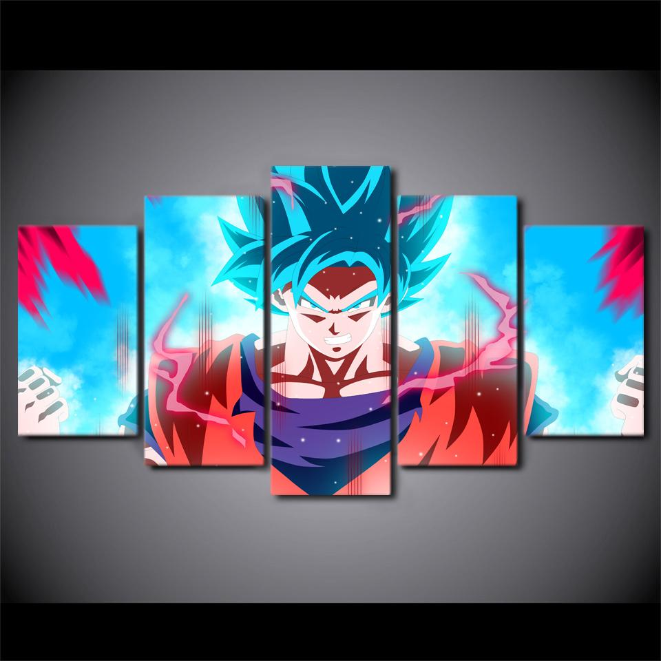 Framed 5 Piece Animation Dragon Ball Z Goku Canvas Wall Art Paintings - It Make Your Day