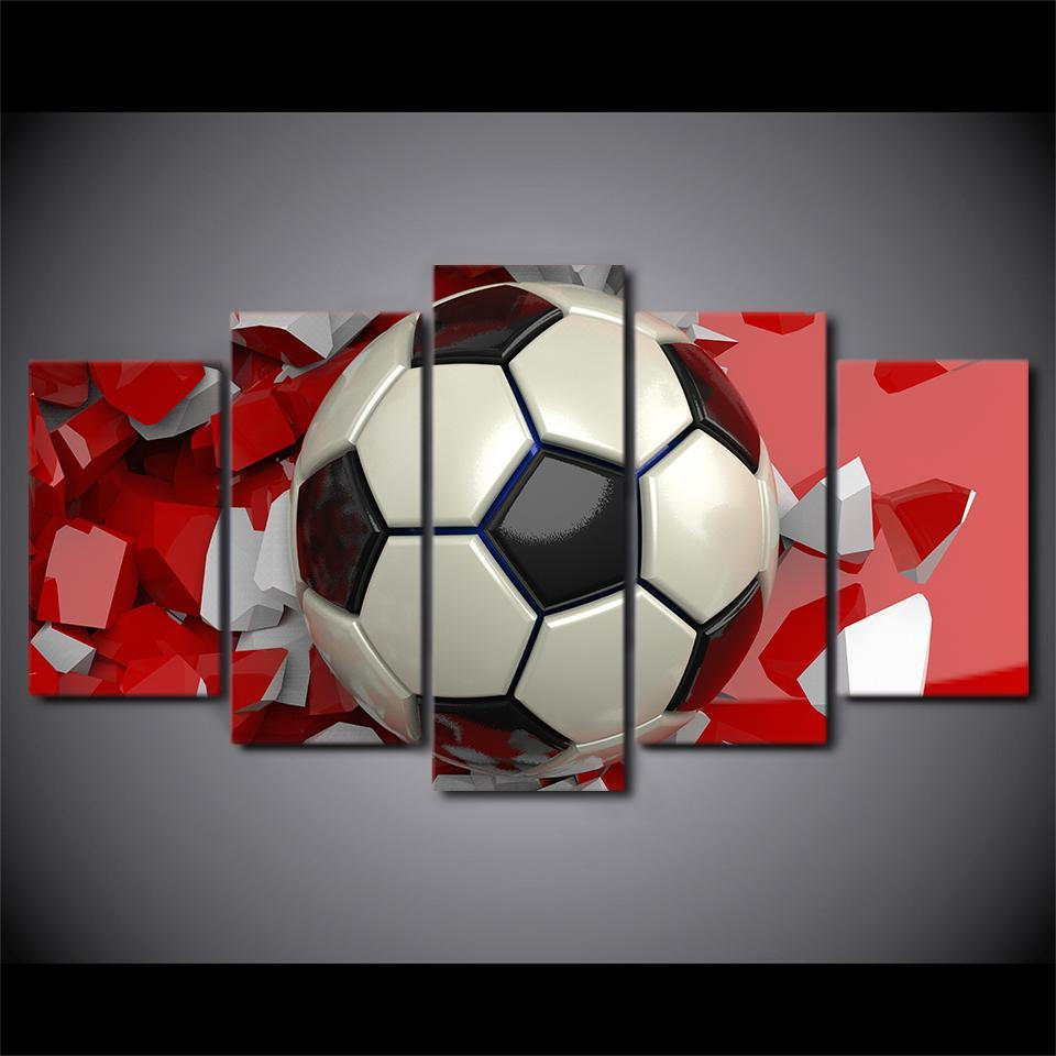 ... 5 Piece Brilliant Soccer Canvas Wall Art Paintings Sets   It Make Your  Day