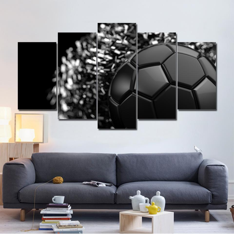 5 Piece Glaring Black Soccer Canvas - It Make Your Day