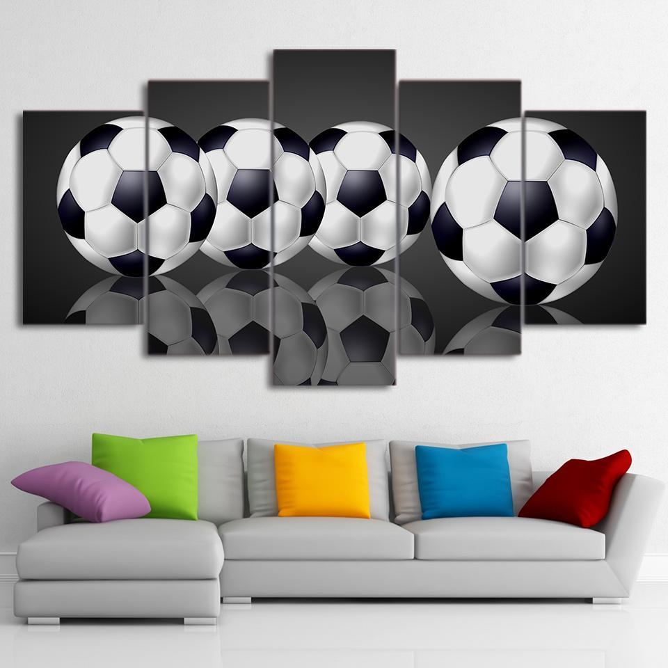 5 Piece Glassy Soccer Canvas - It Make Your Day