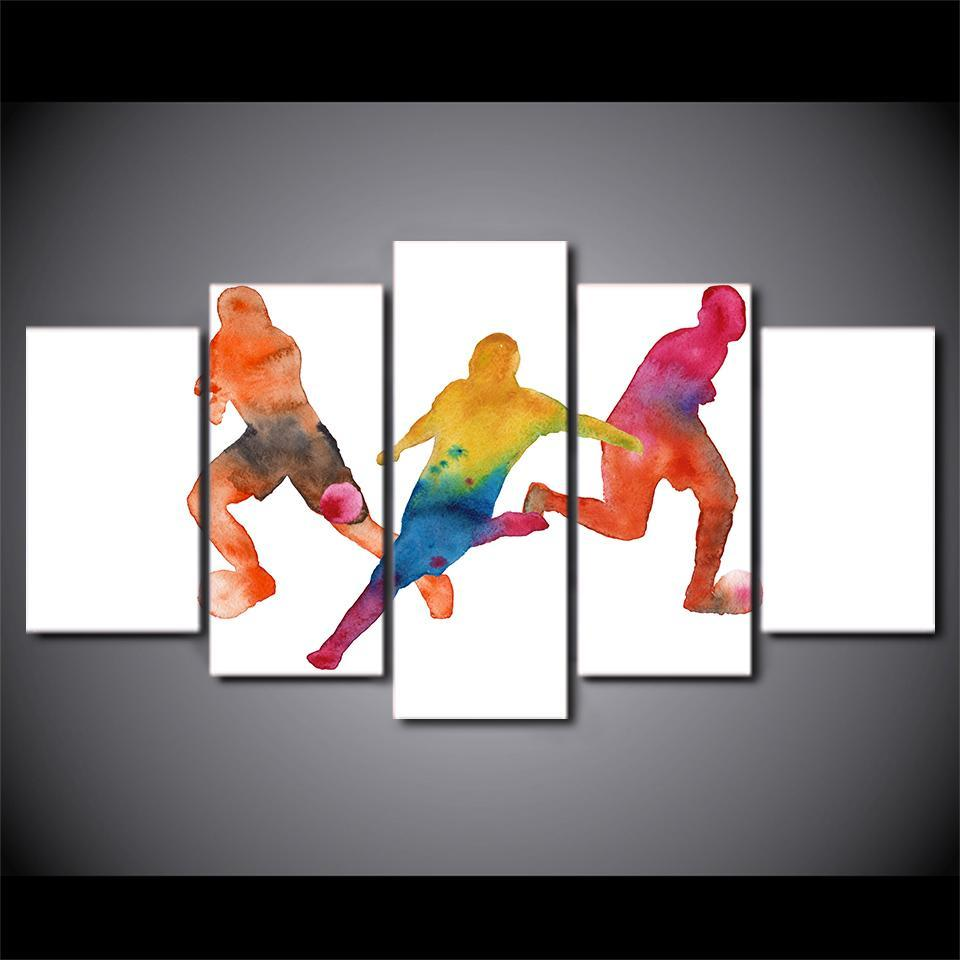 5 Piece Lavish Abstract Soccer Canvas - It Make Your Day
