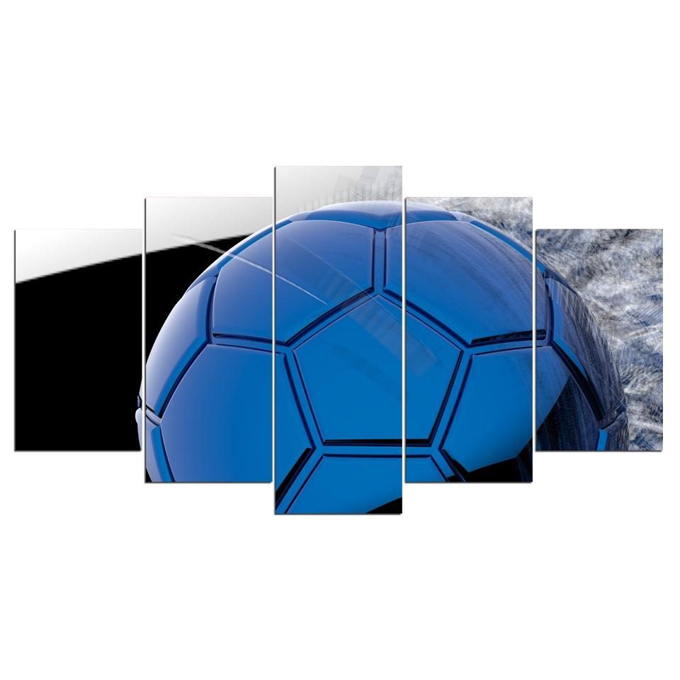 5 Piece Lustrous Blue Soccer Canvas - It Make Your Day