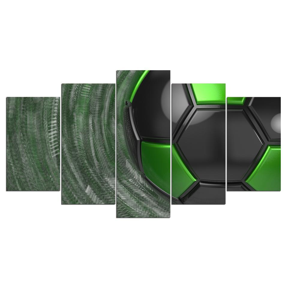 5 Piece Marvelous Green Soccer Canvas - It Make Your Day