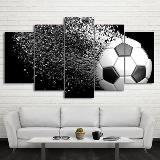 5 Piece Modern Disintegrated Soccer Canvas - It Make Your Day