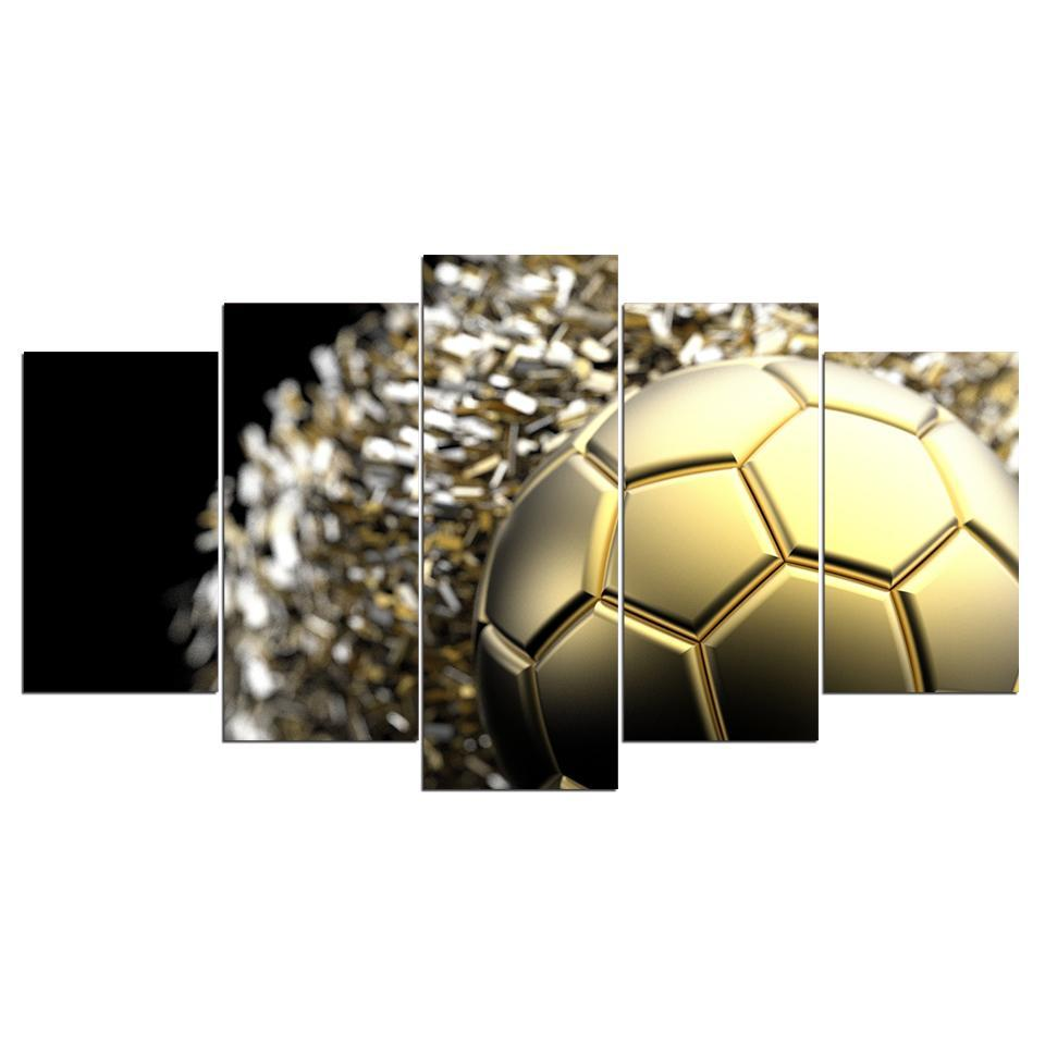 5 Piece New Golden Soccer Canvas - It Make Your Day