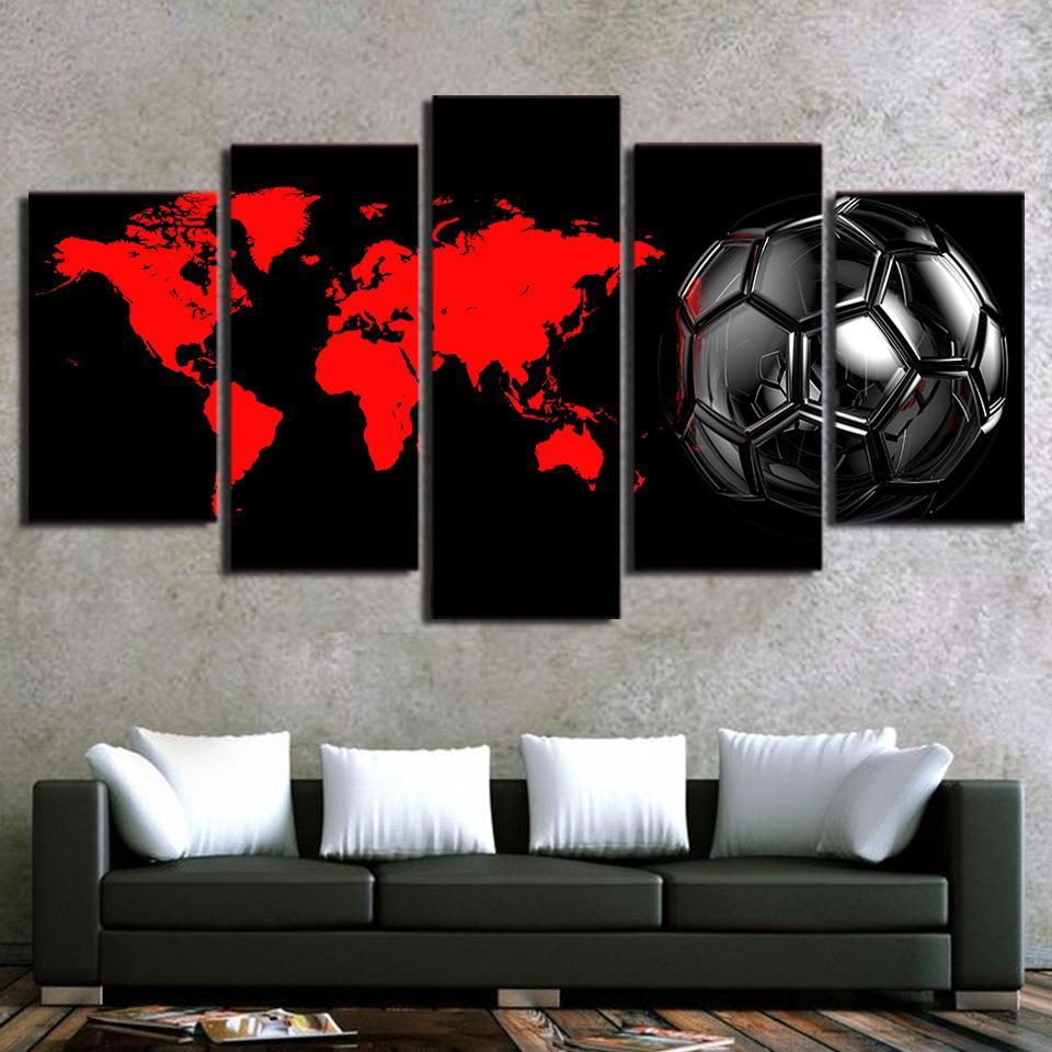 5 Piece Staggering Soccer Canvas Paintings - It Make Your Day