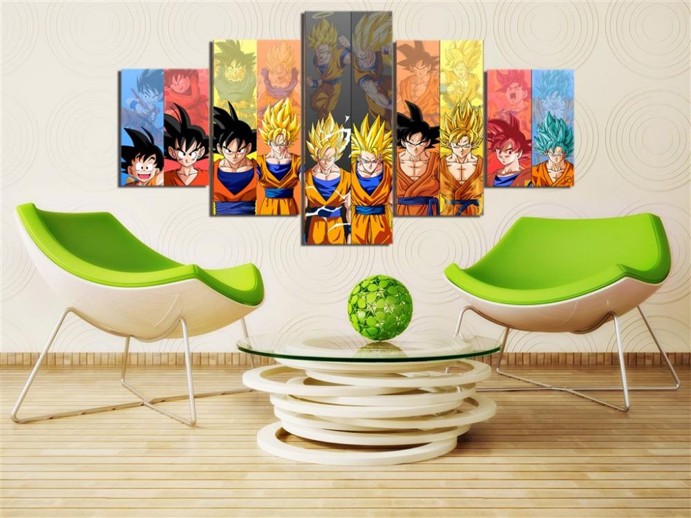 Framed 5 Piece Cartoon Dragon Ball Z Goku Canvas Wall Art Paintings - It Make Your Day