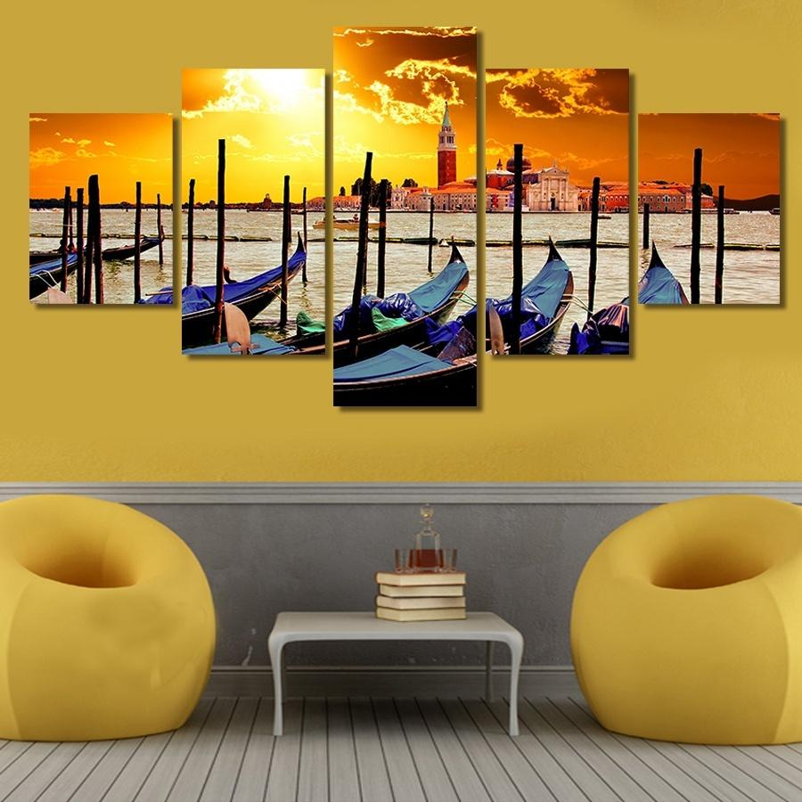 5 Piece Sunset Fishing Boat By The Sea Canvas Wall Art Sets – It ...
